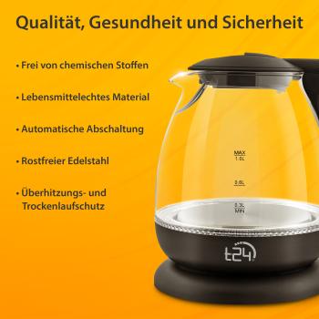T24 Borosilikatglas Wasserkocher mit LED 1100 Watt 1 Liter TÜV schwarz