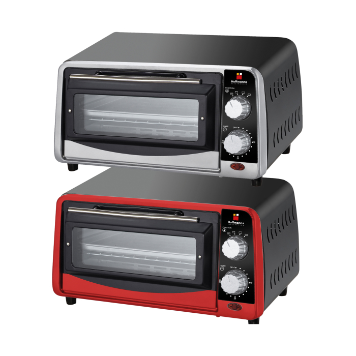 Hoffmann´s Mini Oven With Timer - Pizza, Barbecue Oven - Good For Campings - 9 Liter Capacity - 800 Watt