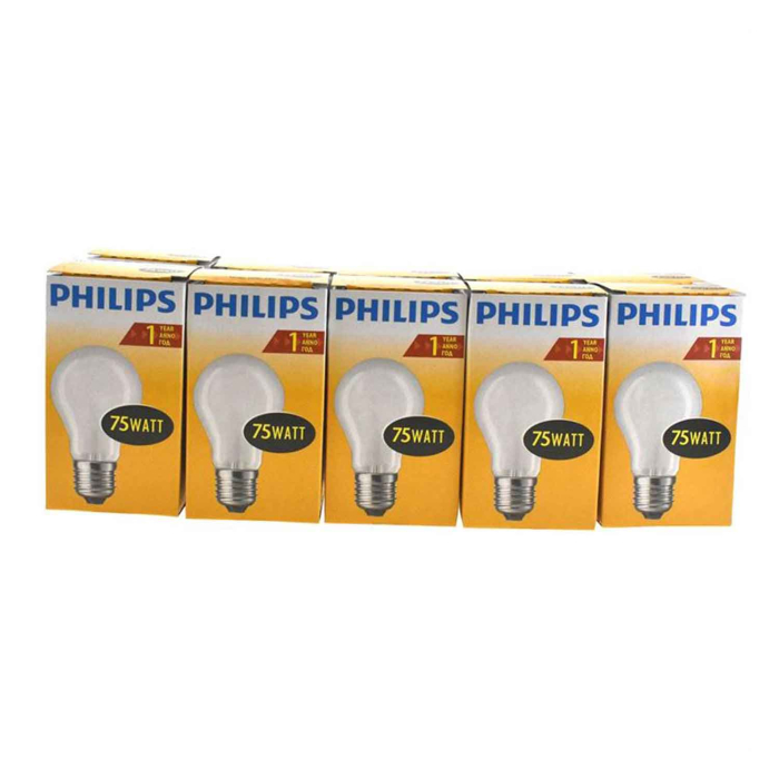 Philips 10er Glühlampen Set in Birnenform 75W E27 Matt A55
