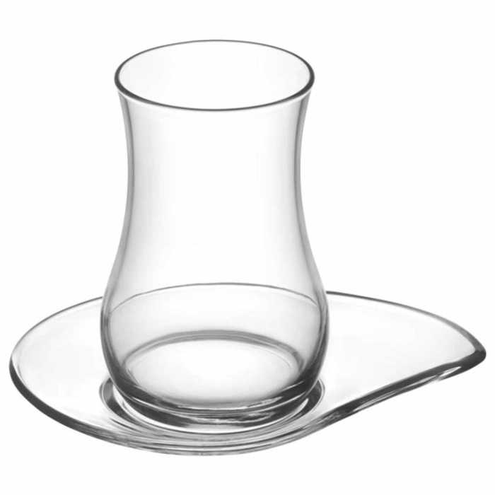 LAV 12-pieces Design Tea Glasses Set Made of High Quality Glass - Ideal For All Type of Hot Drinks - 6x Cups 6x Saucers EVA Series