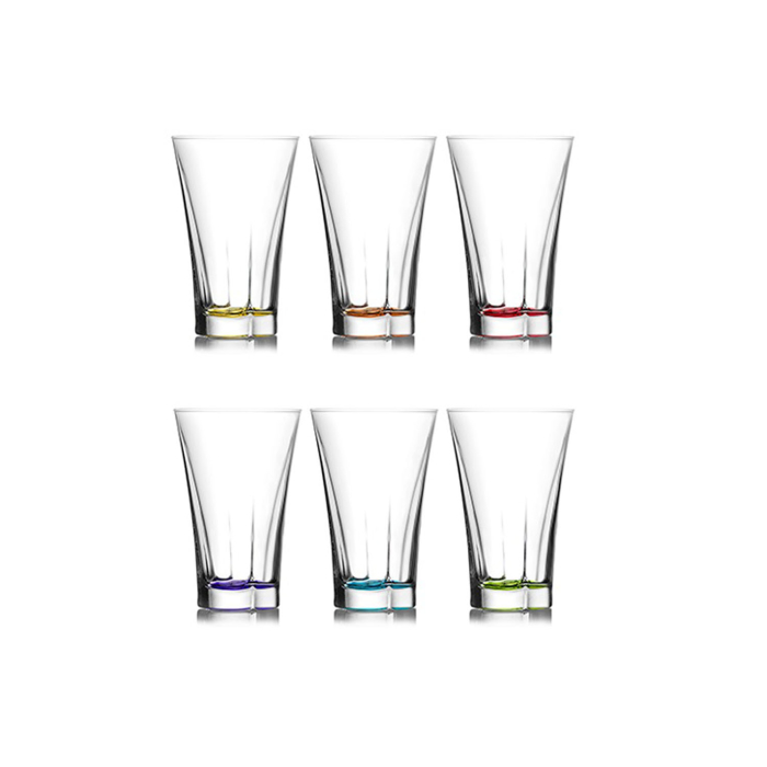 LAV 6-pieces Design Colored Water Glass Set | Coral Truva | 350mL