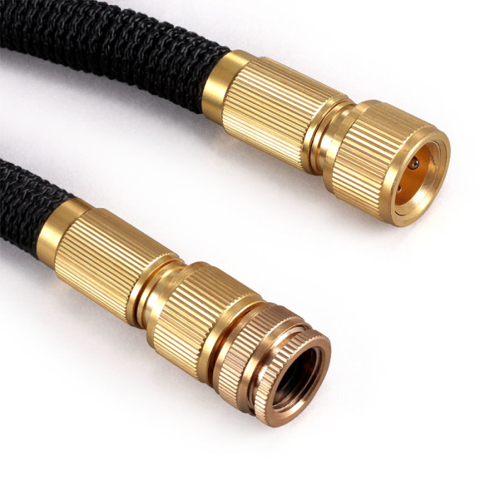 Flexible Garden Hose With Handbrake - Brass Coupling - Double Layer Latex Hose - Leakproof Connection - 15 Meters
