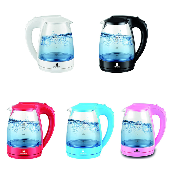 Design Kettle Made of Glass | 1,7 Liter with Blue LED-Light | 2200 Watt