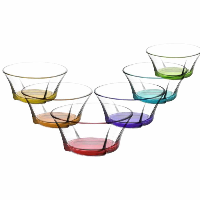 LAV 6-pieces Glass Bowls With Colored Bottom Glass Bowl Dessert Bowl Appetizer Bowl 190mL