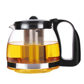 Michelino Glas Teekanne mit Edelstahlsieb, 700 ml, schwarz