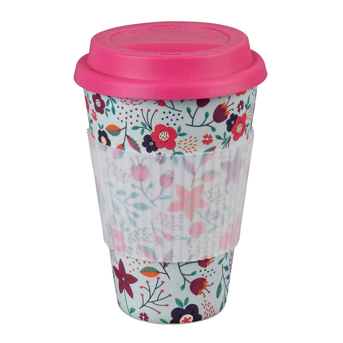 Cambridge Eco Reisebecher Bambus 400 ml, Poppy Flowers