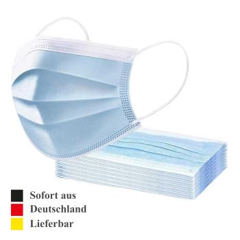 50 x Mundschutz 3-lagig aus Vlies mit Gummibändern Gesichtsmasken