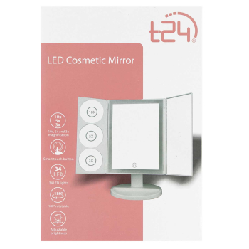 T24 LED Kosmetikspiegel 10-, 5- und 3-fach Vergrößerung