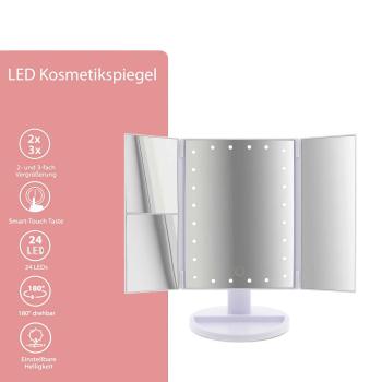 T24 LED Kosmetikspiegel 2- und 3-fach Vergrößerung 180° drehbar
