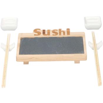 alpina Sushi-Servierset aus Bambus/Schiefer, Keramikschalen
