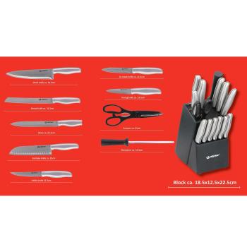 alpina 15-teiliges Küchenset, 12 Messer, Wetzstahl,...
