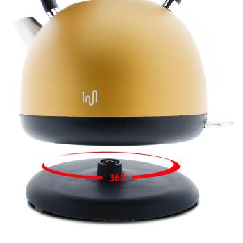 Impolio Retro Design Wasserkocher aus Edelstahl 1,7 L, gold