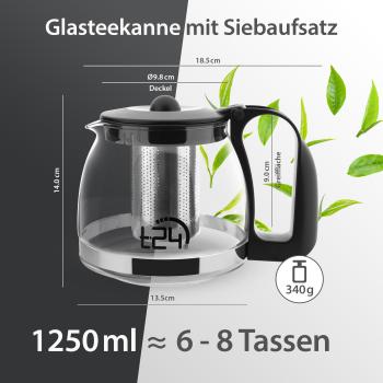 t24 Glas Teekanne mit Edelstahlsieb, 1250 ml, schwarz